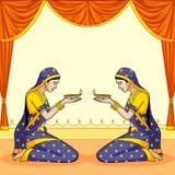 Indische dame met Diwali-diya stock illustratie