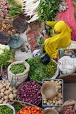 Indische Dame Selling Vegetables royalty-vrije stock fotografie