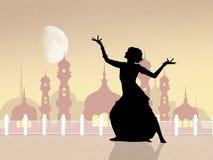 Indische dans bij de moskee vector illustratie