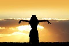 Indische dans bij zonsondergang stock illustratie