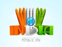 Indische de Dagviering van de Republiek met 3D teksten Royalty-vrije Stock Foto's