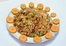 Indische delicatesse - plantaardige rijstpulao Stock Fotografie