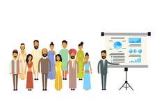 Indische der Gruppen-Geschäftsleute Darstellungs-Flip Chart Finance, Indien-Wirtschaftler Team Training Conference Meeting Lizenzfreies Stockfoto
