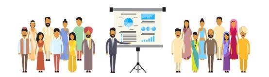 Indische der Gruppen-Geschäftsleute Darstellungs-Flip Chart Finance, Indien-Wirtschaftler Team Training Conference Meeting Lizenzfreie Stockfotos