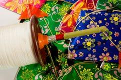 Indische Drachen und Spule für Drachen Fighting Stockfoto