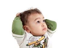 Indische droevige nieuwsgierige babyjongen Royalty-vrije Stock Foto