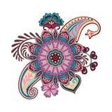 Indische etnische illustratie Hand geschilderd Ornament Stock Afbeelding