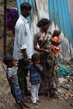 Indische familie in armoede Royalty-vrije Stock Foto's