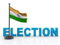 Indische Flagge mit Wahl lokalisiert im weißen Hintergrund 3d übertragen lizenzfreie abbildung