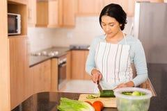 Indische Frau, die Abendessen vorbereitet Stockfotografie