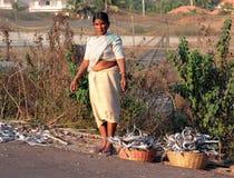 Indische Frau, die Fisch sammelt, der nach rechts aus den Grund entlang der Straße getrocknet wurde Stockbild