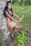 Indische Frau mit einer Stange Stockbild