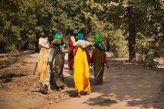 Indische Frauenrückkehr zum Dorf Lizenzfreies Stockfoto