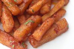 Indische gebraden gerechten knapperige potatos royalty-vrije stock afbeelding