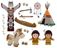 Indische geplaatste symbolen, beeldverhaalkarakters van Indianen stock illustratie