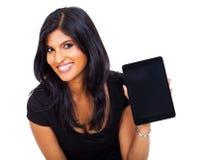 Indische Geschäftsfrautablette Stockbilder