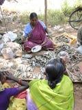 Indische getrocknete Fische der Frau Verkäufe Stockfotos