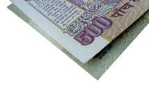 Indische gevouwen 500 van bankbiljet-INR Stock Foto's