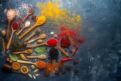Indische Gewürze, Kräuter, Nüsse in den hölzernen und silbernen Löffeln und in den Metallschüsseln, Raum für Text Stockbilder