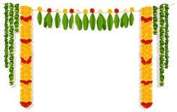 Indische Girlande von Blumen und von Blättern Festliche Feiertagsdekoration der Religion vektor abbildung