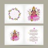 Indische godin Shakti, prentbriefkaarontwerp Stock Afbeeldingen