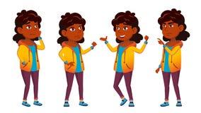 Indische het Jonge geitje Vastgestelde Vector van de Meisjesschool Lage schoolkind Schoolstudent cheer hindoes Aziatisch Voor Pre stock illustratie