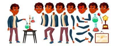 Indische het Jonge geitjevector van de Jongensschooljongen Middelbare schoolkind De Reeks van de animatieverwezenlijking Gezichts stock illustratie