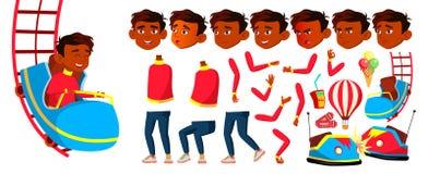 Indische het Jonge geitjevector van de Jongensschooljongen Reuzenrad bij night De Reeks van de animatieverwezenlijking studying l stock illustratie