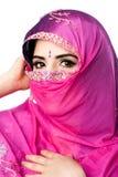 Indische Hindoese vrouw met headscarf royalty-vrije stock foto
