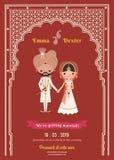 Indische Hochzeits-Braut-u. Bräutigam-Cartoon Save The-Datums-Karte Stockfoto