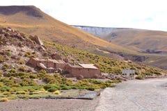 Indische huizen bij de Atacama-woestijn, Chili stock afbeeldingen