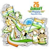 Indische jonge geitjes die tricolorvlag het vieren de Dag van de Republiek van India golven Stock Foto's