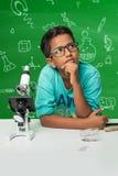 Indische jonge geitjes en wetenschap stock foto's