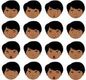 Indische Jungengefühle: Freude, Überraschung, Furcht, Traurigkeit, Sorge, cryin vektor abbildung