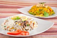 Indische Küche - Reis mit Meeresfrüchten Stockbilder