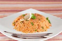 Indische Küche - Reis mit Sojabohnenölwürfeln auf weißer Platte mit Hintergrund Lizenzfreies Stockbild