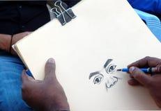 Indische Künstlerzeichnung mit Bleistift auf einem Papier ein Porträt des Mannes Lizenzfreie Stockbilder
