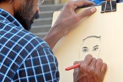 Indische Künstlerzeichnung mit Bleistift auf einem Papier ein Porträt des Mannes Stockbild