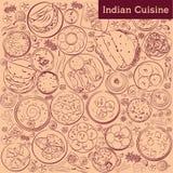 Indische Küche Indische Nahrungsmittelsatz-Vektorillustration stock abbildung