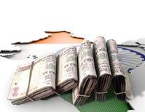 Indische Karte und gefaltete Anmerkungen Lizenzfreies Stockfoto