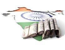 Indische Karte und gefaltete Anmerkungen Lizenzfreies Stockbild