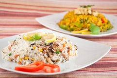 Indische keuken - Rijst met zeevruchten Stock Afbeeldingen