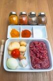 Indische keukeningrediënten - Aloo-keema Royalty-vrije Stock Fotografie