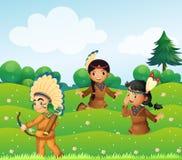 Indische kinderen die op de gebieden spelen stock illustratie