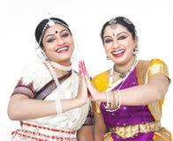 Indische klassieke vrouwelijke dansers Stock Afbeelding