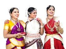 Indische klassieke vrouwelijke dansers Royalty-vrije Stock Afbeeldingen