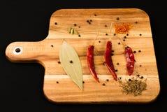 Indische Kräuter u. Gewürze auf Vorbereitungs-Brett Lizenzfreies Stockbild