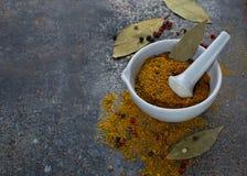 Indische kruiden op grungeachtergrond Royalty-vrije Stock Foto