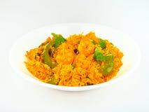 Indische kruidige Garnalen gebraden Rijst. Stock Foto's
