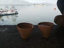Indische kulhar thee stock foto's